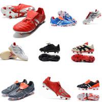 zapato de crampones al por mayor-originales zapatos de fútbol PREDATOR MANIA botas de fútbol zapatos de fútbol crampones depredador manía de precisión acelerador DB David Beckham FG Oro