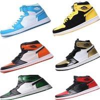 zapatos de baloncesto de calidad aaa al por mayor-Frescos del baloncesto de cuero de alta calidad 1S Bred superior ocasional Baloncesto Botas Originales A-J1.0 amarillas zapatos atléticos de los zapatos de baloncesto 1OG Nrg