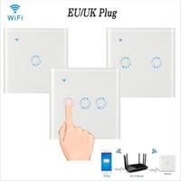ferngesteuerte zeitschaltuhr großhandel-WiFi Touch Wall Light Schalter Panel 1/2/3 Gang EU / UK Wireless Wall Switch Timing und Fernbedienung Arbeiten Sie mit Alexa Google Home