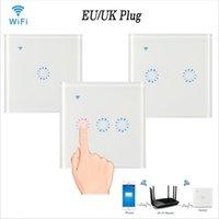 wifi lichtschalter großhandel-WiFi Touch Wandschalter Panel 1/2/3 Gang EU / UK Wireless Wandschalter Unterstützung Timing und Fernbedienung Arbeiten mit Alexa Google Home