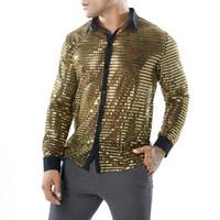 camisa de lantejoulas preta venda por atacado-Sexy noite clube camisas ver através de roupas mens stage jogando camisas de prata de ouro preto lantejoulas topos