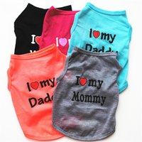 baba bayan elbiselerini seviyorum toptan satış-Pet Köpek Aşk Anne Yelek Köpek Yaz Aşk Baba Anne Giyim Teddy Köpek BENIM BABA MOMMY Giyim