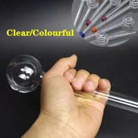 Wholesale Oil Burner Big Large Pyrex Glass Oil Burner Pipes Glass Tube Nails Smoking Pipes cm Clear Colourful