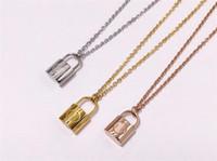 halsketten verschlossen großhandel-Luxus Marke Schmuck Liebhaber Anhänger Halskette Männer Frauen Lock Charm Halskette Mode Edelstahl Neckalce J185