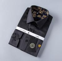 camisas a cuadros para hombre largas al por mayor-Diseñador de lujo de los hombres de negocios camisa casual para hombre de manga larga a rayas Slim Fit Camisa Masculina Medusa Social Plaid camisas moda camisa