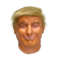 ingrosso maschere viso di celebrità-Donald Trump costume di Halloween Maschera di lattice realistico Masquerade Maschera di Carnevale Hood Celebrity fronte pieno COS Maschera Stella imitazione Visualizza