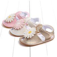 kızlar yürüyen sandaletler toptan satış-Çocuklar Kızlar Sandalet Yaz Ayçiçeği Bebek Kız Sandalet Ayakkabı Çocuk Çocuklar Toddler Için Yumuşak taban Anti Kayma Yenidoğan yürüyüş ayakkabı