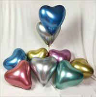dekorasyon partisi merkezi toptan satış-50 adet / grup 12 inç Metalik Kalp Şekli Lateks Balon Masa CenterPiece Düğün Doğum Günü Partisi Için Bebek Duş Dekorasyon