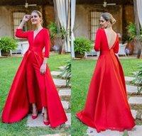 vestidos de noche de satén rojo cuello v al por mayor-2020 nueva llegada Rojo forma los vestidos de baile de satén con cuello en V de 3/4 mangas largas con sobrefaldas partido Backless más el tamaño de vestidos de noche