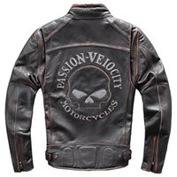 neue herren echtes lederjacke großhandel-2019 New Genuine Leather Jackets Herren Schädel Muster Echtleder Mäntel Flug Herren Bomberjacke Cow Windbreaker A765