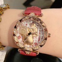 Wholesale pig tags resale online - DIMINI Life saving Gold Pig Watch Female Watch Leather Strap Spin Watches Fashion Personality Watches Ladies Watch