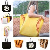 fußballhandtaschen großhandel-Europäische und amerikanische mode sport fitness tasche einfache aufbewahrungstasche leinwand tasche softball fußball handtasche zza1014