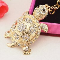 Wholesale turtles keychain for sale - Group buy Fashion Colorful Rhinestone Turtle Keychain Cute Gold Color Animal Pendant Bag Car Key Chains Keyring With Buckle Accessories