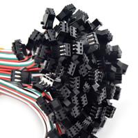 led erkek dişi tel konektör toptan satış-100 pairs 3 pin JST SM Erkek Kadın tak LED Konnektör Kablosu WS2812B SK6812 WS2811 için LED Şerit Lamba ile 15 cm Uzun Tel