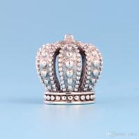 taç boncuk cazibesi toptan satış-YENI Klasik 925 Ayar Gümüş Taç Charm Seti Orijinal Kutusu Pandora DIY Bilezik için Avrupa Boncuk Charms Takı aksesuarları