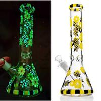 Wholesale thick base bong resale online - Yellow Bee Glass Beaker Base Bong Bubbler Waterpipes Thick Glass Water Bongs Dabber With mm Bowl Smoking Hookahs Shisha Inchs
