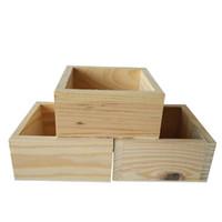 holzblumenkasten holzkasten großhandel-D10 * H5CM Kleine quadratische Holz Fleisch Blumentopf Holzkiste Pflanzer für Sukkulenten Pflanzer Holz Rohr Boxen