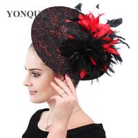 Wholesale ladies fascinators resale online - Elegant ladies kenducky derby hats chapeau feathers decor fascinators caps party wedding fedora bridal new fashion hair clips