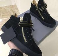 бесплатная доставка обувь италия оптовых-ЕС 35-47 Италия Дизайнер из натуральной кожи ZIP Повседневная обувь Golden Zipper Роскошные Мужчины Женщины High помощь Верхняя кнопка металла кроссовки Бесплатная доставка