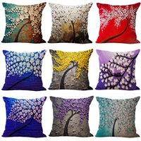Wholesale cherry pillows for sale - Group buy 3D Oil Painting Trees Flowers Pillow Cover Cherry Blossom Blooming Printing Pillowcase Modern Painted Cushions Cover x45cm