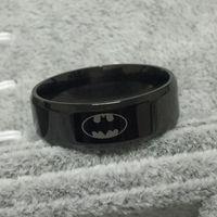 ingrosso anelli in carburo di tungsteno per le donne-Black batman logo alliance of tungsten carbide ring wide 8mm 8g per uomo donna alta qualità USA 7-14