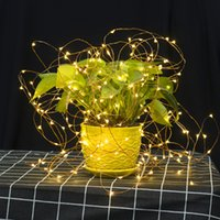 Wholesale battery light strings resale online - LED Copper Wire String Lights CR2032 Button Cell Battery Rice String Lights M LED Fairy Light for Christmas Wedding Decoration