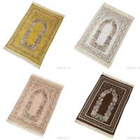 Wholesale knitted yarn flowers resale online - Chenille Cotton Yarn Prayer Blanket Muslim Worship Carpet Islamism Tapis Knitting Flowers Pattern Polyester Fiber Elegant yxa O1