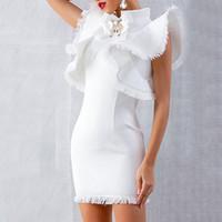 vestido casual asimetrico al por mayor-Remiendo de la borla mujeres atractivas visten los diamantes volantes de manga de cintura alta asimétrico delgado mini vestidos femeninos de moda