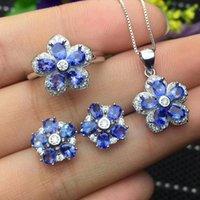ожерелье из ожерелья оптовых-Колумбия природный танзанит набор кольцо серьги ожерелье модные с новым качеством дизайна 925 серебро
