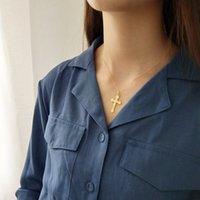 925 sterling silber kreuze großhandel-Neueste Design 925 Sterling Silber golden Christian Kreuz Anhänger Kette Halsketten für Frauen Molkerei tragen und als Geschenk