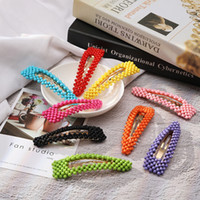 Wholesale hairpin cute resale online - Fashion Girls Pearl Hair Clips Cute Colorful Hairpins Classic Kids Beaded Barrettes Party Princess Hair Accessory TTA907