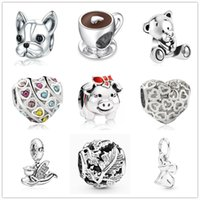 Wholesale bead dogs for sale - Group buy 2020 new MOQ new original coffee cup pig angel bear dog diy bead fit Pandora charms Bracelet for women men jewlery D095