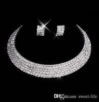 gelin mücevherat yapımı toptan satış-Tasarımcı 15035 Seksi Erkekler Yapımı Elmas Küpe Kolye Parti Balo Örgün Düğün Takı Seti Gelin Aksesuarları Ücretsiz Nakliye Stokta