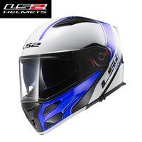 latas visera al por mayor-LS2 FF324 flip up casco de la motocicleta cara completa LS2 METRO full face casco visores dobles visor antiempañamiento puede agregar auriculares blsuetooth
