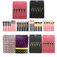 Wholesale 10pcs Brand Makeup Brushes pc Professional Cosmetic Brush Kit Synthetic Hair Wood Handle Eyeshadow Foundation Make Up Tool Set Black Pink
