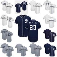 camisolas venda por atacado-2019 Barato Mens Jerseys San Diego 23 Fernando Tatis Jr. Padres 13 Manny Machado Preto Branco Cinza Legal Camisas De Basebol