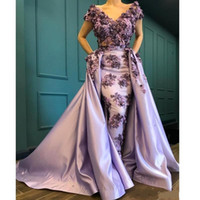 Wholesale arabic hand made dresses for sale - Group buy 3D Appliques Lavender Mermaid Evening Dresses Glamorous Saudi Arabic Off Shoulder Short Sleeve Prom Party Gowns Custom Made BC2572