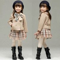 Wholesale kid s clothes for sale - Group buy 2 winter baby girl suits outfits Korean plaid sports suit children s sets Clothing set sets Infant kids tracksuits clothes