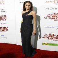 Wholesale nude chiffon one shoulder dress for sale - Group buy 2019 Newest Angelina Jolie Black Red Carpet Dresses One Shoulder Celebrity Gowns Sleeveless Evening Dresses Custom Made