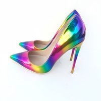 sapatos de arco-íris de salto alto venda por atacado-2019 mulheres livres do transporte de moda senhora Do Casamento novo Arco-íris de couro de Patente Dedos Arrastados alta saltos sapatos de salto agulha Stiletto sapatos bomba 12 cm 10 cm