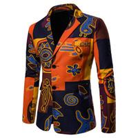 Wholesale linen suit for sale - New Arrival Mens Blaser Masculino Cotton Linen Casual Printed Jacket Fashion Qrange Blazers Spring Autumn Men Suit Jacket Coats