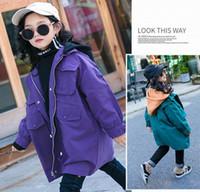 yeşil kış ceketi kızları toptan satış-Genç Kız Sonbahar Kış Coat Moda Kalın Kapşonlu Toz Coat Çocuk Giyim Yeşil Mor