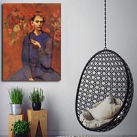 ingrosso ragazzo arte della camera da letto-Pablo Picasso Boy With A Pipe HD Wall Art Canvas Poster Stampe Pitture murali a muro per la cucina Camera da letto Home Decor Framework