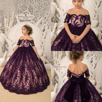 Wholesale white black flower girl for toddlers for sale - Dark Purple Flower Girl Dresses Short Sleeve Lace Sequins With Big Bow Girls Pageant Gowns Toddlers First Communion Gowns For Wedding Party