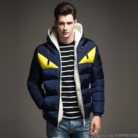 ingrosso giacca invernale del mens più il formato-Cappotto del cotone L'autunno e l'inverno Mens di alta qualità del progettista moda giacche Corrispondenza colori di personalità del fumetto stampato Plus Size M-4XL