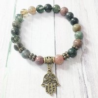 joyas de perlas de lujo al por mayor-MG0411 Diseño simple Pulsera de piedra natural para mujer 8 mm Fancy Beads Hamsa Charm Bracelet Indian Agate Energy Jewelry