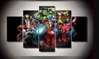 modernos quadros de pintura a óleo venda por atacado-Pintura A Óleo moderna Retratos Da Parede Sala de estar Decoração de Casa Filme Poster Comics Vingadores Spiderman Hulk 5 Painel Não Emoldurado