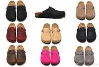 düz göğüs toptan satış-Boyutu 36-45 Boston Yün Keçeli Yağlı Deri Erkek Kadın göğüslü flats sandalet Mantar terlik unisex Scuffs beah caunisex Sandy ayakkabı baskı karışık