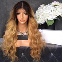 ingrosso radici scure bionde-Resistente al calore parte centrale Ombre parrucca Glueless Blonde Body Wave parrucche anteriori del merletto con radici scure Resistenti al calore parrucche sintetiche per le donne nere