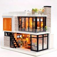 kutu dollhouse toptan satış-Bebek Evi Ahşap Mobilya Diy Evi Minyatür Kutusu Bulmaca Araya 3d Miniaturas Dollhouse Kitleri Oyuncaklar Çocuk Doğum Günü Hediyesi Için SH190709